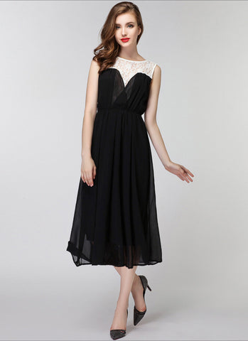 Black Chiffon Midi Dress with White Lace Details MD16