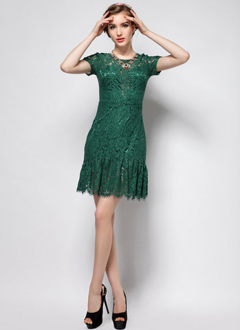 V Back Green Lace Mini Dress with Flounce Mermaid Scalloped Hem MN6