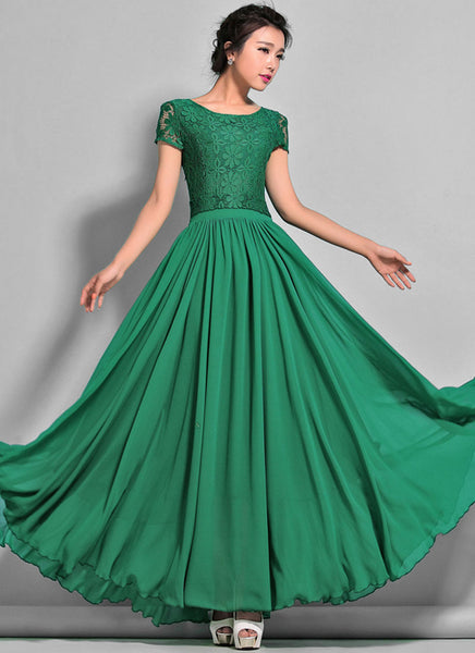 Emerald Green Lace Chiffon Maxi Dress With Cap Sleeves