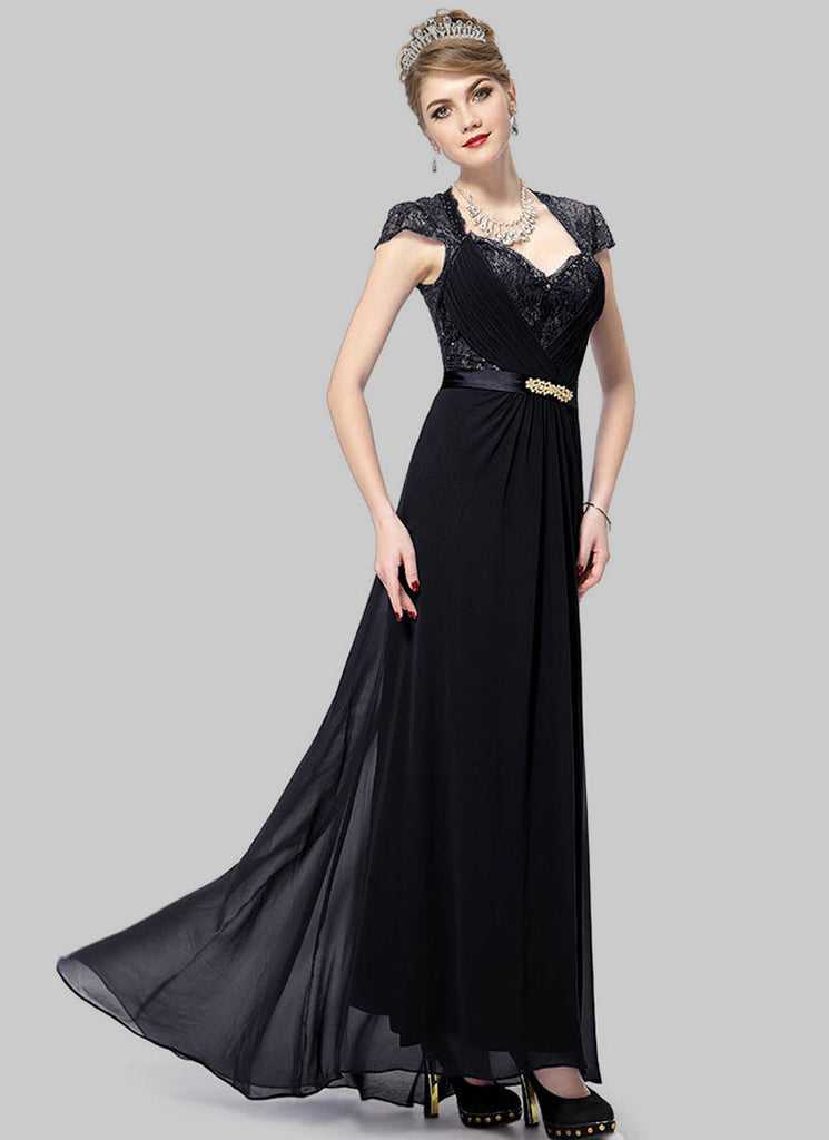 Black Lace Evening Gown with Sequin & Rhinestone Embellishment