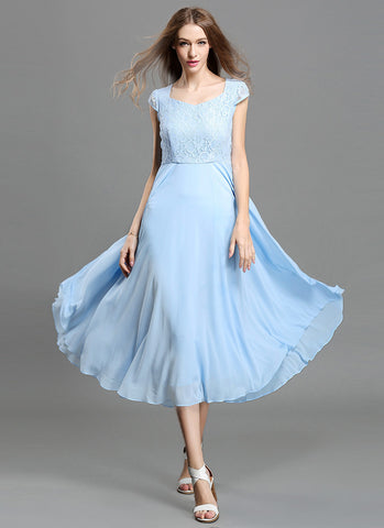 Light Blue Lace Chiffon Midi Dress with Sweetheart Neck and Layered Cap Sleeves MD41