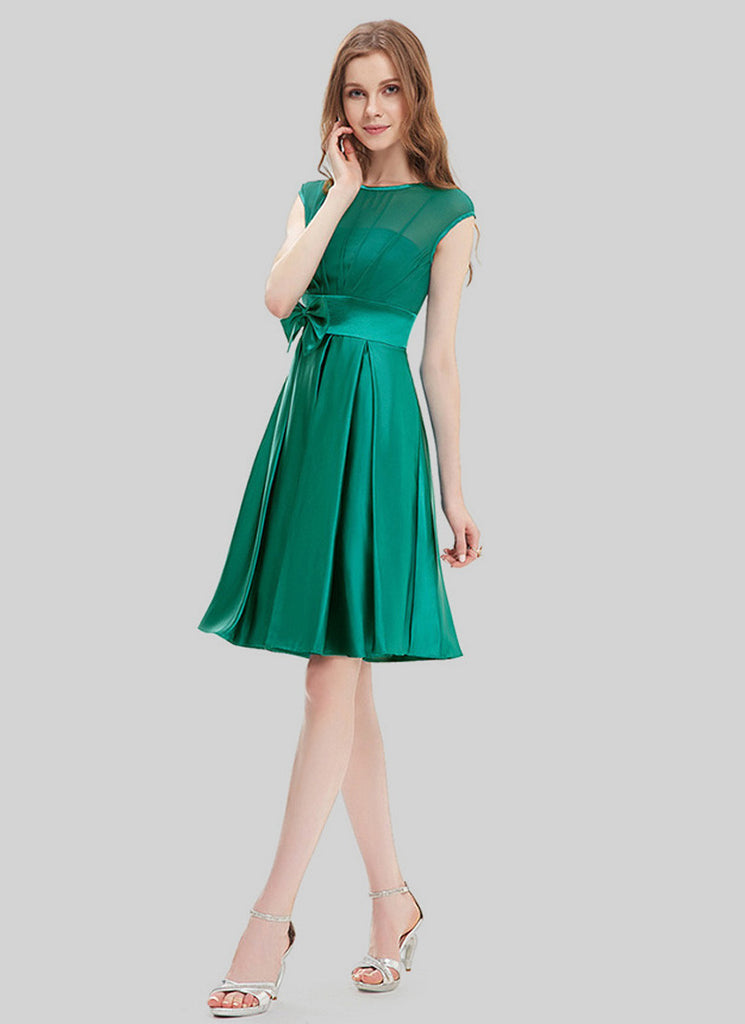 Emerald Green Chiffon Satin Mini Dress with Bow Tie Belt and Keyhole Back