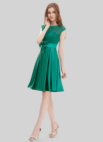 Emerald Green Chiffon Satin Mini Dress with Bow Tie Belt and Keyhole Back MN104