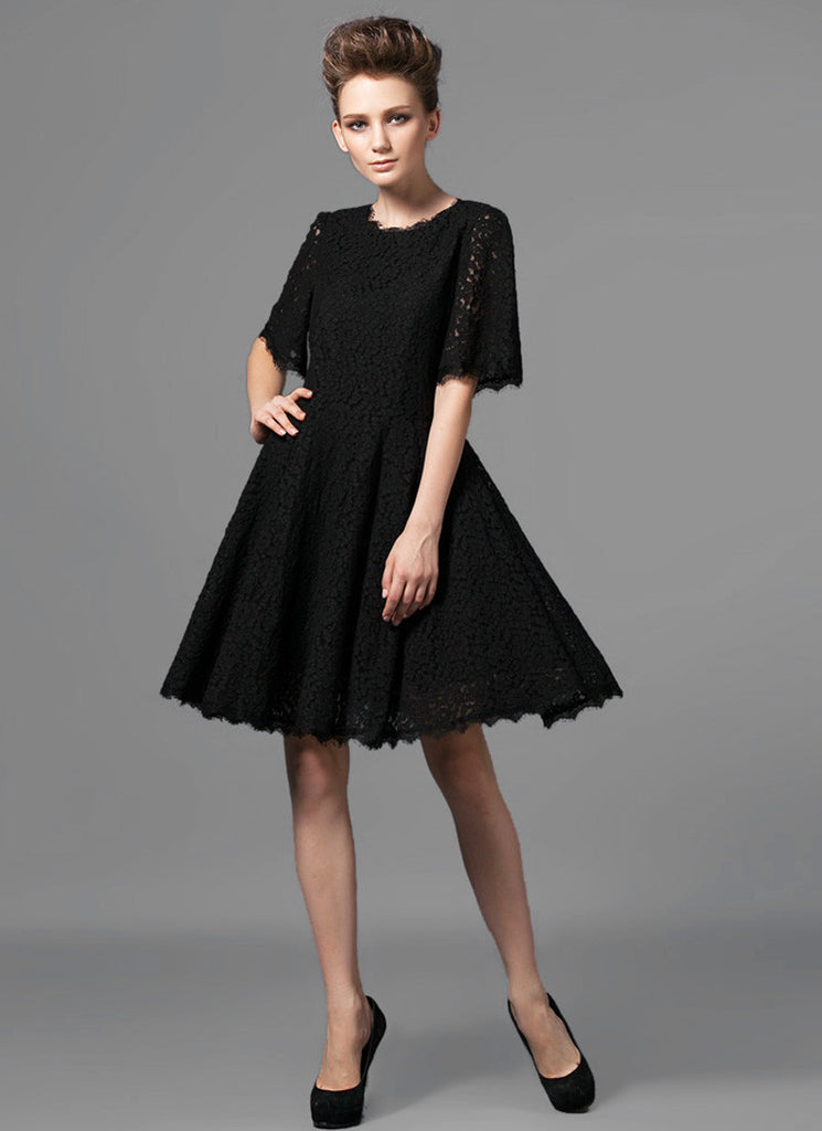 Black Lace Fit and Flare Mini Dress with Modified Angel Sleeves and Scalloped Hem