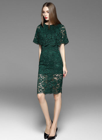 Dark Green Lace Mini Sheath Dress with Layered Cloak Top and Scalloped Hem MN48
