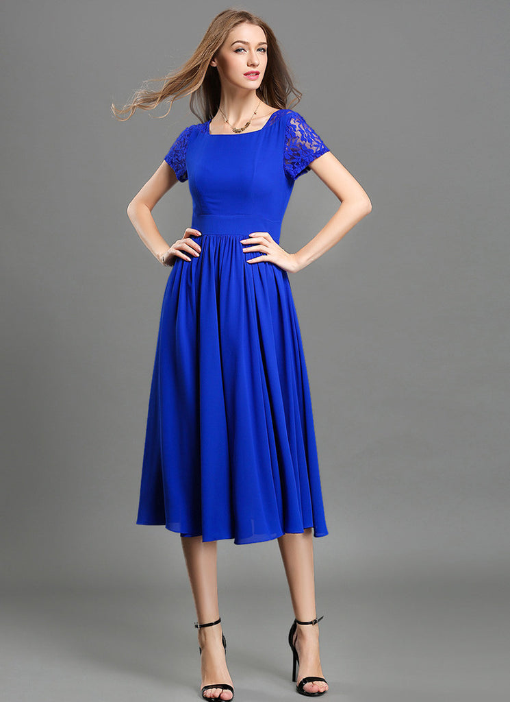 V Back Blue Chiffon Midi Dress with Modified Court Neck and Lace Details