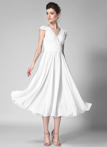 V Neck White Midi Chiffon Dress with Cap Sleeves and Ruched Waist Yoke MD35