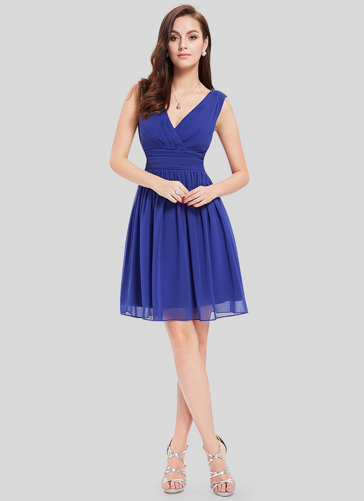 V Neck V Back Blue Chiffon Mini Dress with Ruched Waist Yoke