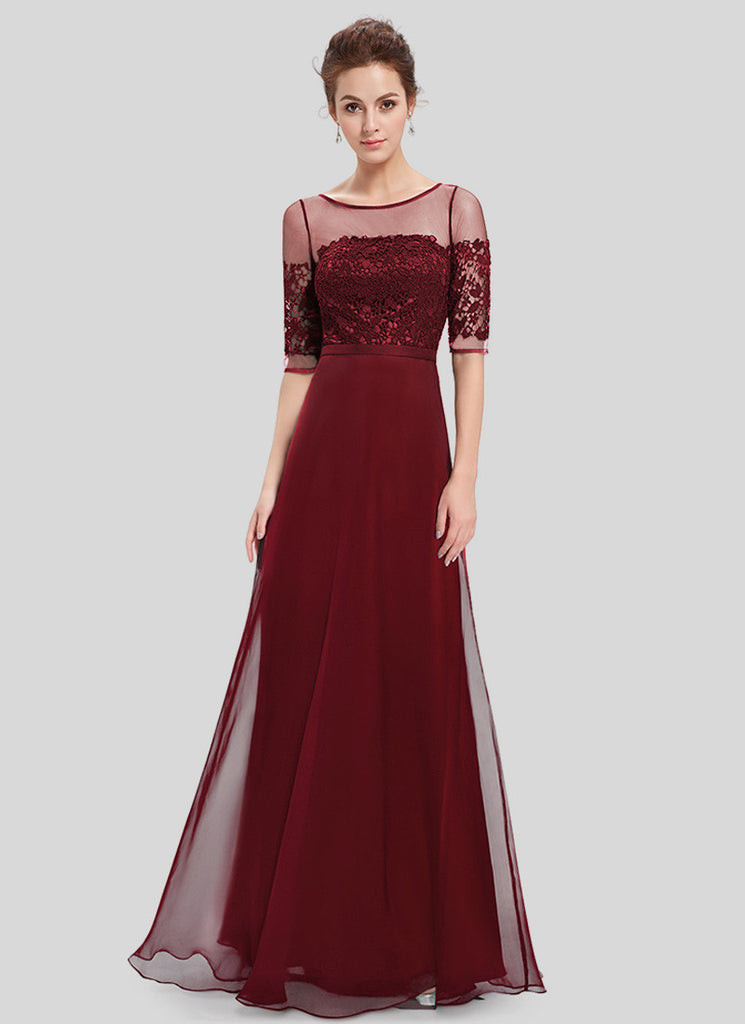 Maroon Lace Organza Chiffon Maxi Dress with V Back
