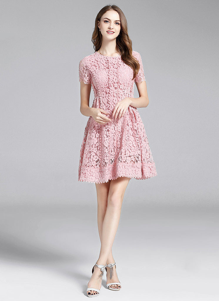 Powder Pink Lace Aline Mini Dress with Scalloped Lace Trim Details