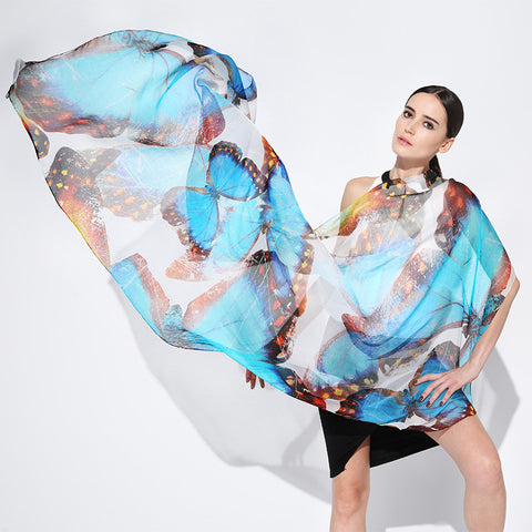 Digital Printed Silk Chiffon Scarf - Colorful Silk Scarf with Extra Large Butterfly Print - PS2-11 (Blue Color)