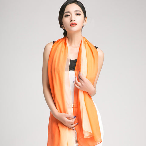 Gradient Color Mulberry Silk Scarf - Orange Silk Chiffon Scarf - Orange Gradient Silk Scarf - GS1-11