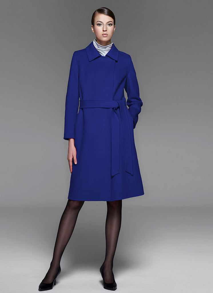 Royal Blue Belted Cashmere Wool Coat