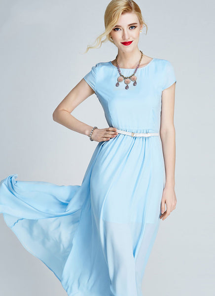 Elbow Sleeve Blue Lace Midi Dress With Scalloped Hem And