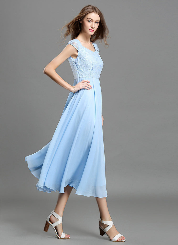 9a87111a17a6 Light Blue Lace Chiffon Midi Dress with Sweetheart Neck and Layered Cap  Sleeves MD41
