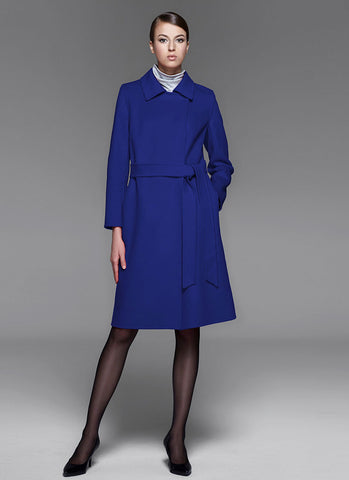 Royal Blue Belted Cashmere Wool Coat RB102