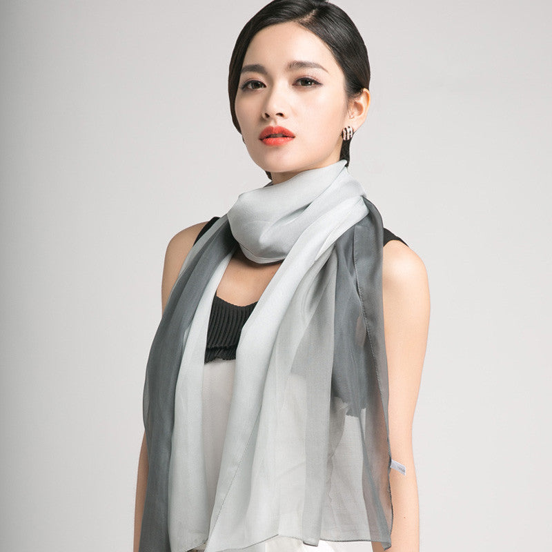 Gradient Color Mulberry Silk Scarf - Gray Silk Chiffon Scarf - Grey Gradient Silk Scarf - GS1-12