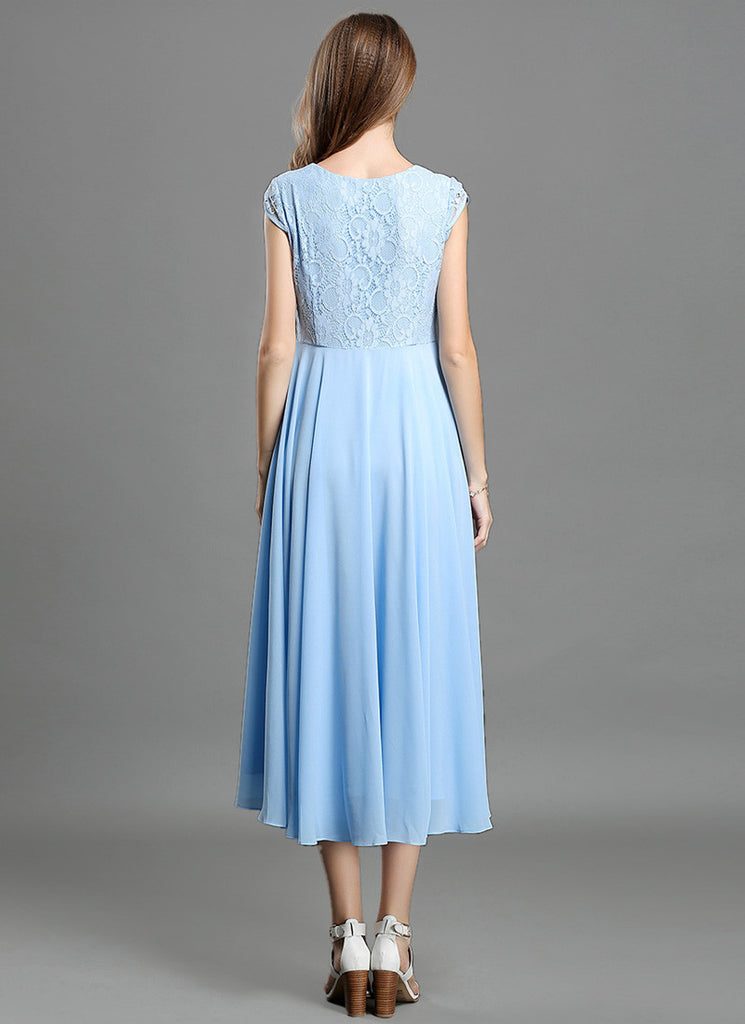 line dress prom cap blue long light a beaded sleeve with slit chiffon