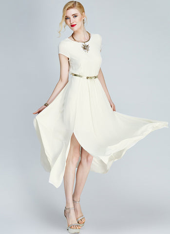 Ivory (Moon White) Chiffon Midi Dress with Cap Sleeves and Side Slit MD20