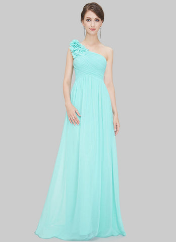 One Shoulder Aquamarine Maxi Dress with Floral Embellishment RM455