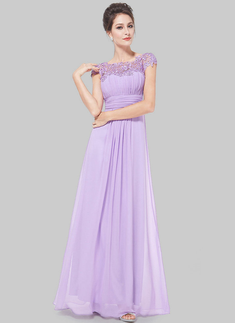 b428d5465c54 Embellished Open Back Violet Lace Chiffon Evening Gown RM450 – RobePlus