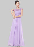 Embellished Open Back Violet Lace Chiffon Evening Gown