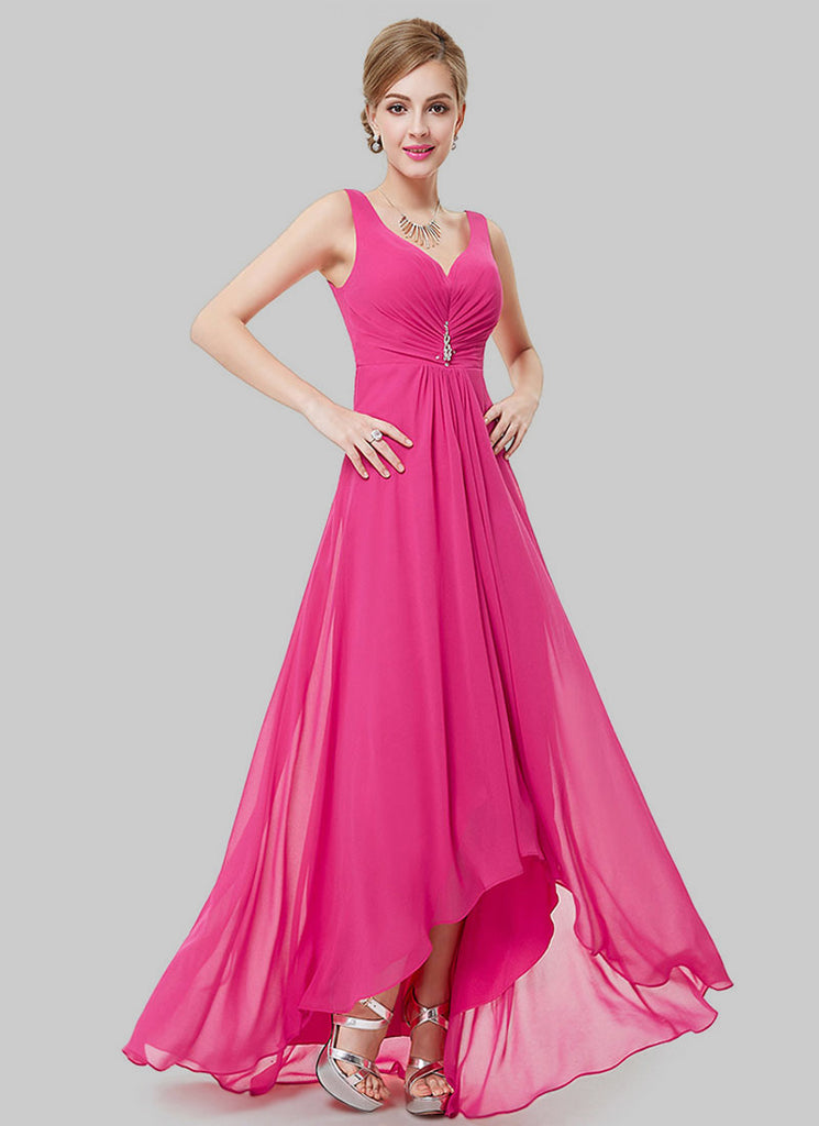 V Back Fuchsia Evening Dress with Sweetheart Neck