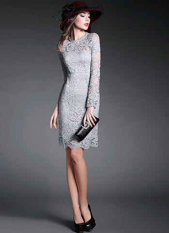 Gray Lace Sheath Mini Dress with Scalloped Hem and Eyelash Details RD526