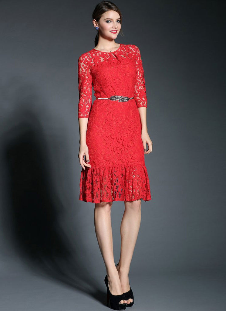 Red Lace Mermaid Mini Dress with Flounce Hem