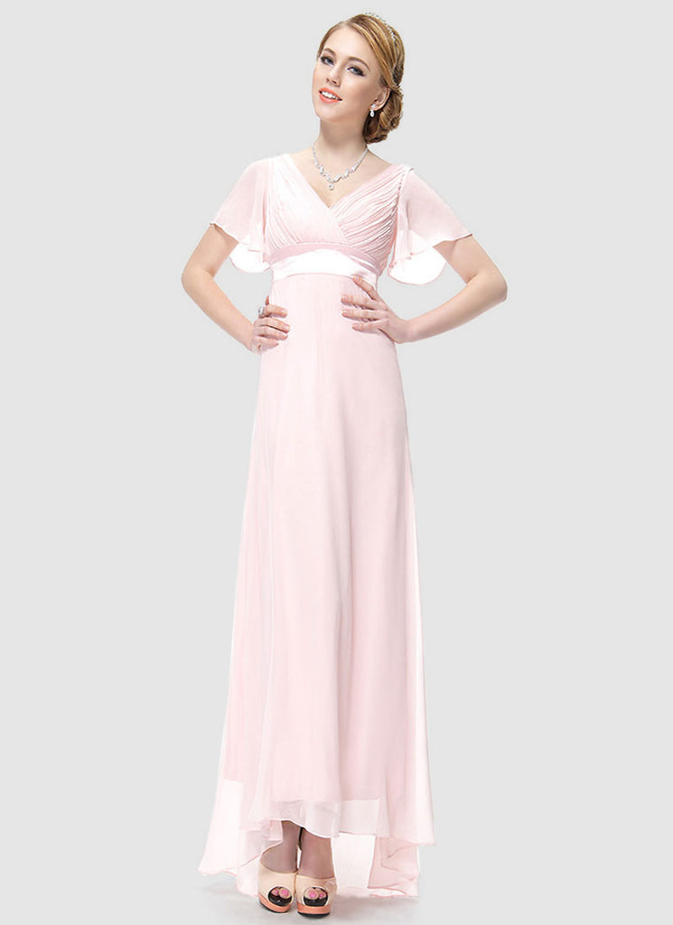 Empire Waisted Light Pink Maxi Dress with Flutter Sleeves