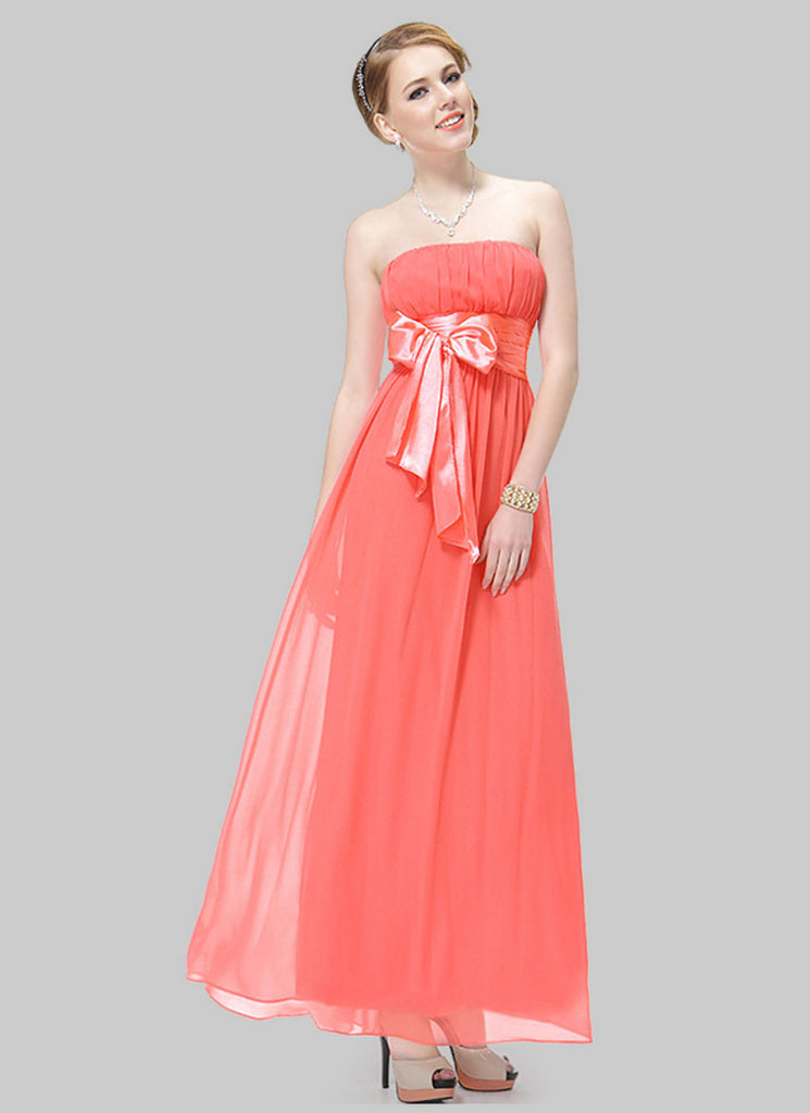 Strapless Light Coral Maxi Dress with Wide Satin Waist Yoke and Sash