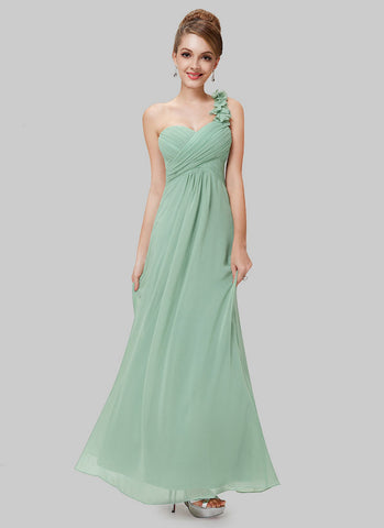 Open Shoulder Mint Green Maxi Dress with 3D Floral Embellishment RM456