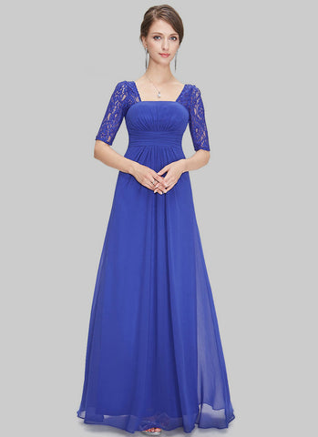 Empire Waisted Sapphire Blue Lace Chiffon Maxi Dress with Open Back RM452