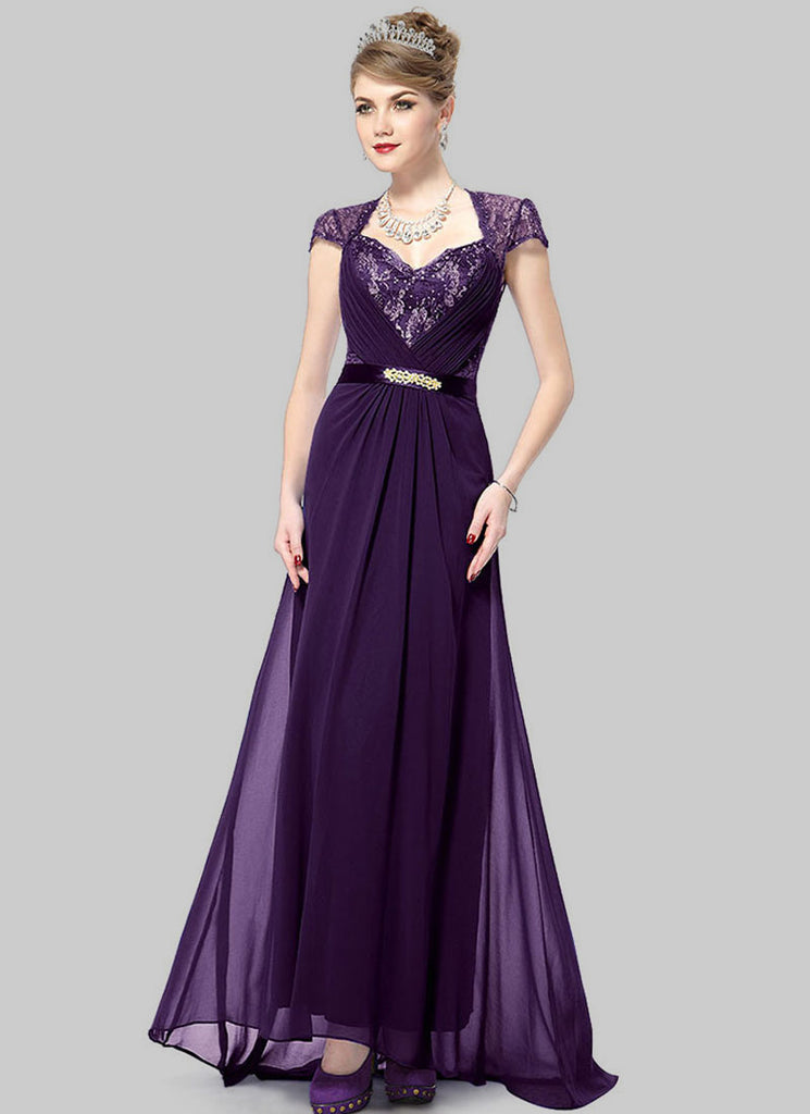 Dark Purple Lace Evening Gown with Sequin & Rhinestone Embellishment