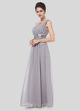One Shoulder Gray Maxi Dress with Sequin Waist Yoke