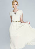 Ivory (Moon White) Chiffon Midi Dress with Cap Sleeves and Side Slit