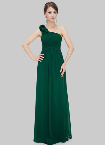 One Shoulder Dark Green Maxi Dress with Floral Embellishment RM455