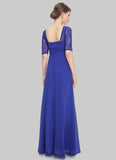 Empire Waisted Sapphire Blue Lace Chiffon Maxi Dress with Open Back