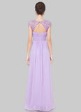 Embellished Open Back Violet Lace Chiffon Evening Gown RM450