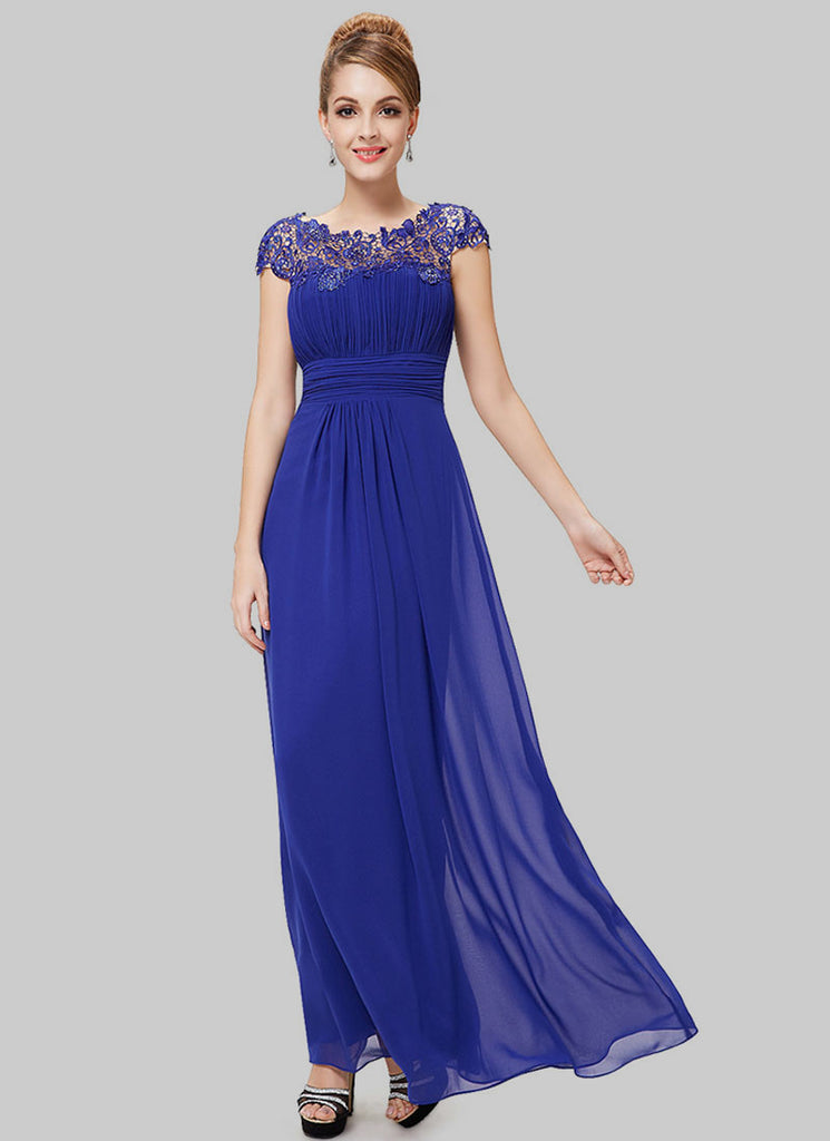 Embellished Open Back Royal Blue Lace Chiffon Evening Gown