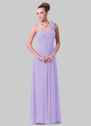 Open Shoulder Light Orchid Maxi Dress with 3D Floral Embellishment RM456