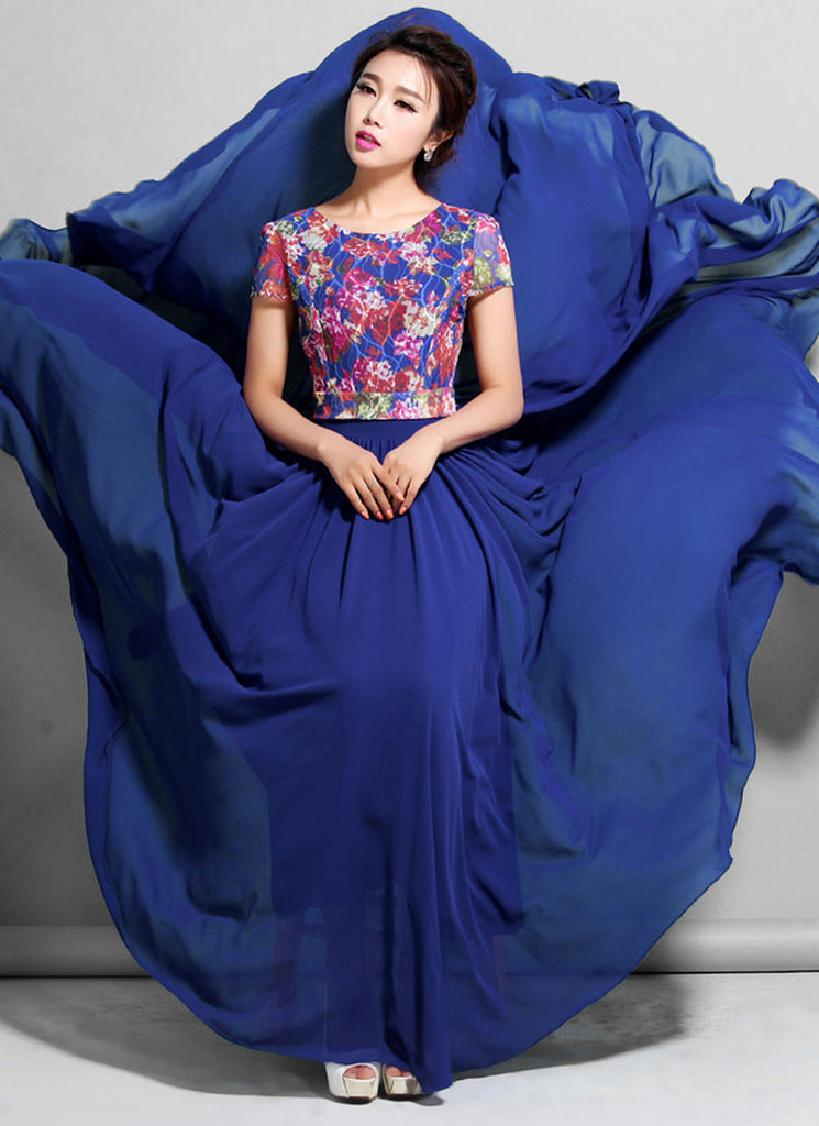Sapphire Lace Chiffon Maxi Dress with Colorful Floral Print and Cap Sleeves