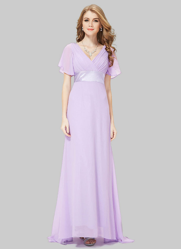Empire Waisted Thistle Maxi Dress with Flutter Sleeves