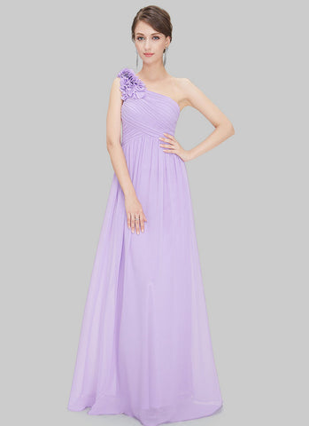 One Shoulder Violet Maxi Dress with Floral Embellishment RM455