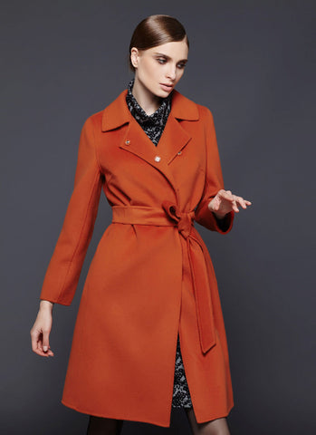 Orange Belted Cashmere Wool Coat RB102