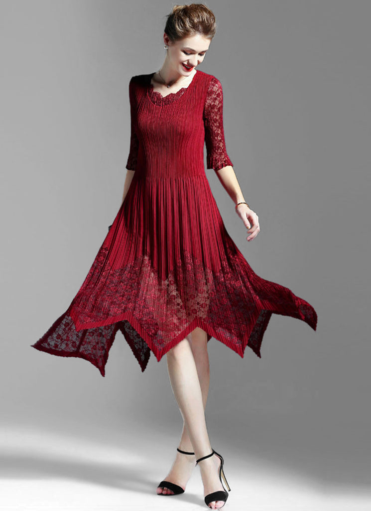 Pleated Crimson Red Lace Chiffon Midi Dress with Asymmetric Hem