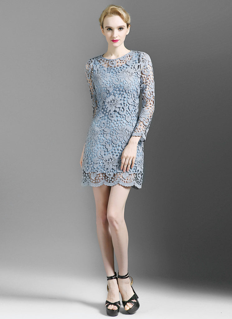 Powder Blue Lace Sheath Mini Dress with Scalloped Hem and Three Quarter Sleeves