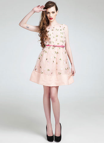 Dusty Rose Pink Floral Embroidered Lace Mini Dress RD298