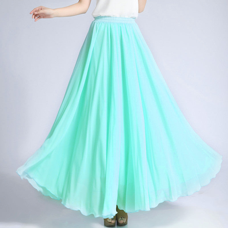 Light Turquoise Chiffon Maxi Skirt with Extra Wide Hem