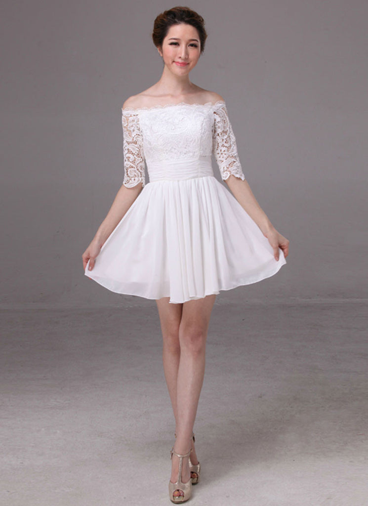 Off-Shoulder White Lace Chiffon Mini Dress with Ruched Waist Yoke